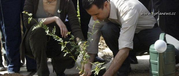 Asmaa & Bashar Al Assad Plant Jasmine in Damascus