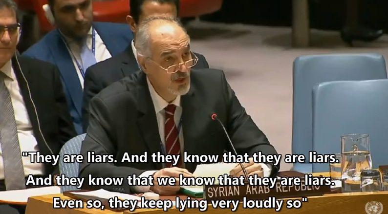 Syrian ambassador Jaafari addressing NATO reps at UNSC