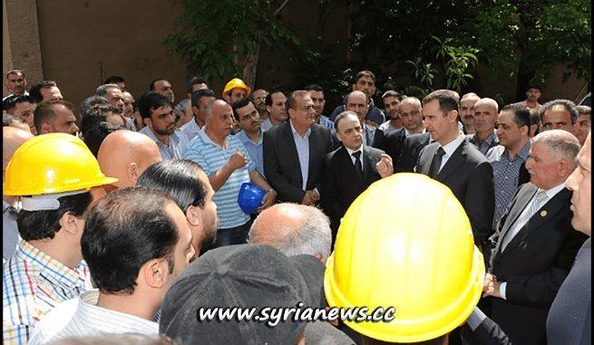 Syria President Bashar al-Assad Visits Damascus Electricity Work
