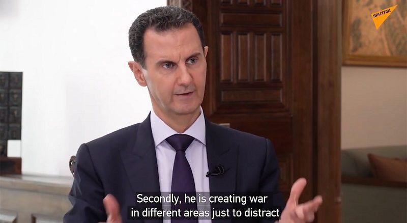 Syrian President Bashar Assad interview with Sputnik